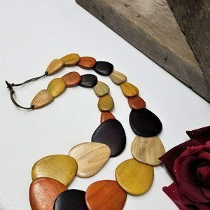 Interesting Wood Necklace Large Hand Carved
